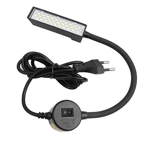 Luce LED per macchina da cucire, lampada da 30 LED con supporto magnetico per trapano a colonna con rivestimento flessibile in silone a collo d'oca per macchina da cucire, trapani,(Spina UE)