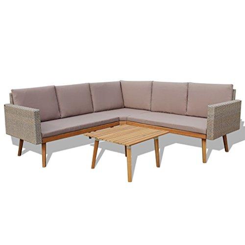 vidaXL Garten Sofagarnitur 4-TLG. Poly Rattan Grau Gartensofa Gartenmöbel Set