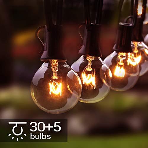 Osaloe Guirnaldas Luminosas de Exterior y Interiores, Cadena de Luces de 11 M/31FT con 30+5 Bombillas, Cadena de Luz G40 Impermeable para Jardín, Fiesta, Bodas, Terraza, Césped, Balcón, Navidad
