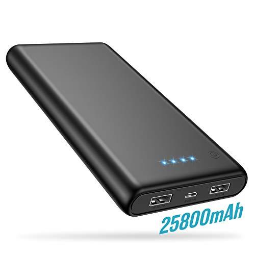 Trswyop Power Bank, Caricabatterie Portatile 25800mAh Batteria Esterna per Cellulare Alta capacità con 2 Porte Di Uscita Totale 3.1A Per Dispositivo iOS / Android Tablet