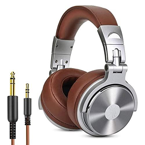 OneOdio Cuffie da Studio DJ chiuse senza adattatore per monitoraggio e missaggio, cuffie in pelle con protezioni, isolamento acustico, alloggiamento ruotabile a 90, cuffie stereo over ear portatili