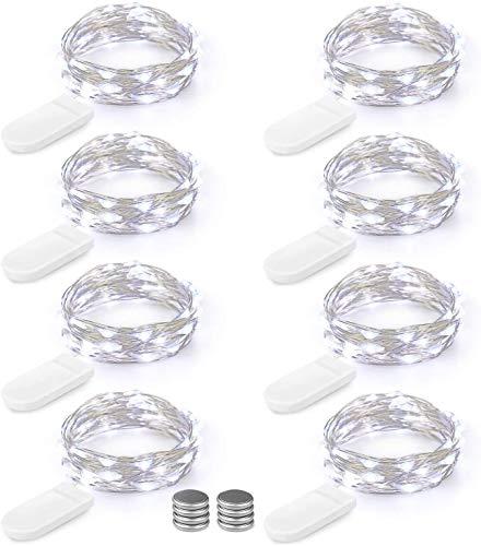 [8 Pezzi] BrizLabs 2M 20LEDs Luci Stringa Filo Di Rame Bianco Freddo Lucine Decorative a Batteria, Micro Argento Impermeabile Luci Per Camera Feste Giardino Natale (Viene fornito con 8 batterie extra)