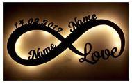 Infinity, luce d'amore, regalo per San Valentino, personalizzato con nomi. Il regalo perfetto per San Valentino, compleanno, anniversario per coppie, uomini, donne