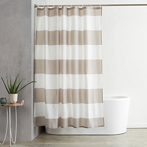 AmazonBasics Shower Curtain with Hooks - 72 x 72 Inch, Grey Stripe