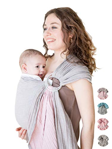 Baby Wrap Carrier Ring Sling-Luxury Extra Soft Turkish Cotton Muslin Grey Rose-for Newborns, Infants and Toddlers-Perfect Baby Shower Gift