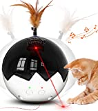 2021 Newest Cat Laser Toy,3 in 1 Interactive Tumbler Ball,Laser and Feather Toys for Pet Automatic Kitten Chaser Toy Indoor,Electronic Real Mice Sound,3 Speeds,3 Timers,Irregular Circle,Rechargeable
