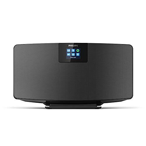 Radio-Internet Philips M2805/10, Radio Dab + (WiFi, Bluetooth Multiple, Spotify Connect, Fonction Alarme, Son stéréo, écran TFT, Forme Fine), Noir – modèle 2020/2021