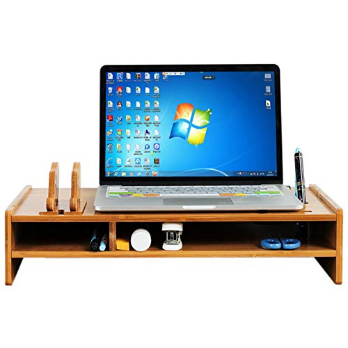 UYASDASFAFGS Bambú Soporte para Monitor,Universal Madera Elevador De Monitor con Organizador De Escritorio Oficina Equipo Ordenador Portátil Soporte Elevador para El Hogar Y Oficinas-a