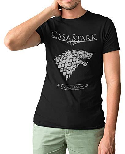 162- Camiseta Premium, Juego De Tronos Casa Stark (Negra,L)