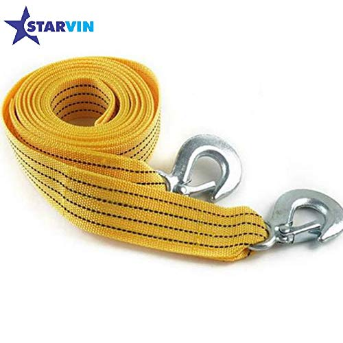 STARVIN Premium 4M Long || Super Strong Emergency Heavy Duty || Car Tow Cable || 3 Ton Towing Strap Rope || with Dual Forged Hooks || Yellow Colour || A-03