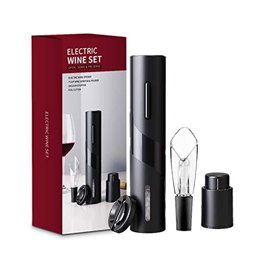 JOQINEER Elektrischer Weinflaschenöffner Kit Wiederaufladbarer automatischer Korkenzieher enthält Folienschneider Vakuumstopper und Weinbelüfter Ausgießer mit USB-Ladekabel für Weinliebhaber
