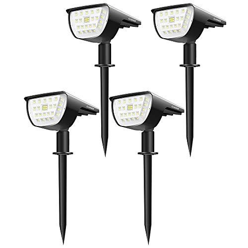 Claoner 32 LED Luci Solari da Esterno, Faretti Solari da Giardino Impermeable IP65 Illuminazione Giardino Solare 2-in-1 con 3 Livelli di Luminosit per Piscina, Cortile, Vialetto, Patio-4 Pezzi