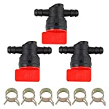 Hipa 494768 698183 Fuel Shut Off Valve with clamp for Murray Toro Lawn Tractor (Pack of 3 Pieces)