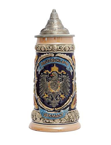 Amoy-Art Boccale da Birra Tedesco Beer Stein Mug con Coperchio Germania Stemma dei Stati Federali per Regalo Giftbox 0.6Litre