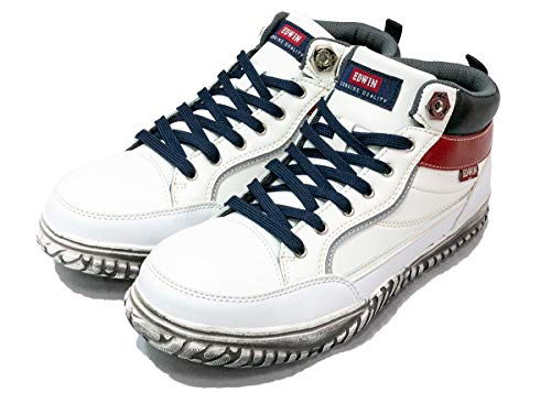 [エドウィン] 安全靴 軽量 メンズ 幅広 クッション セーフティーシューズ 作業靴 スニーカー 作業用 作業 疲れにくい 安定 鉄芯入り すべり止め おしゃれ esm102 25.0cm 白