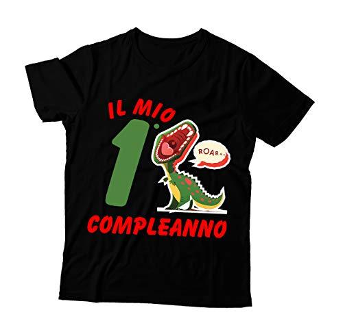 Tshirt Compleanno Bimbo 1 Anno - Compleanno 2 Anni - Dinosauro - Tshirt Maglietta Bimbo - Idea Regalo