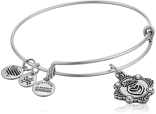 Alex and Ani Womens Because I Love You, Mom Charm Bangle Bracelet, Rafaelian Silver, Expandable