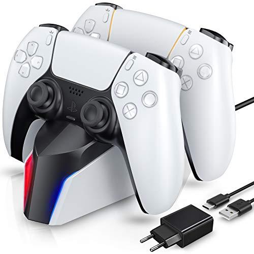 ECHTPower Twin Charge für PS5, Ladestation Ladegerät mit Netzteil für Playstation 5 DualSense Controller, Charger für 2 Controller mit LED Anzeige Zubehör für Play Station 5, weiß