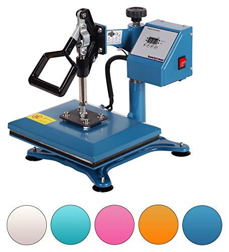 RICOO Power Zwerg-AZ Transferpresse Textilpresse Textildruckpresse Schwenkbar Thermopresse Transferdruck Bügelpresse Textil T-Shirtpresse Sublimationspresse für Flexfolie und Flockfolie | Azur-Blau