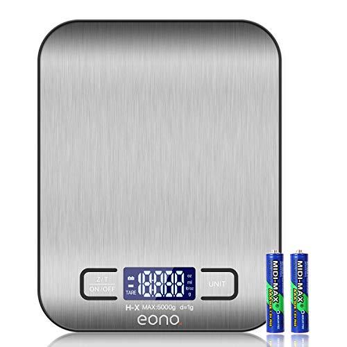Eono by Amazon - Bilancia digitale da cucina, in acciaio inossidabile, pesa in grammi e once, 5 kg / 1 g, garanzia 15 anni