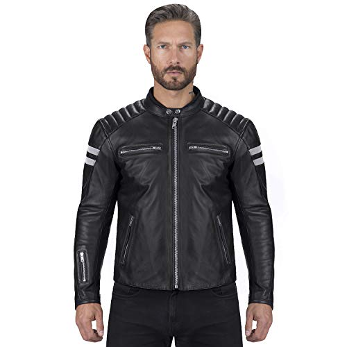 Viking Cycle Leather Motorcycle Jacket for Men  Biker BloodAxe Armor Protection Black