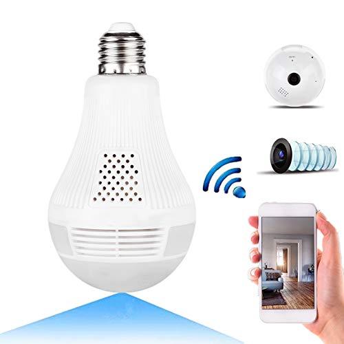 WIFI Telecamera, 360 ° grandangolare Fisheye HD Telecamera di sorveglianza, Telecamera di controllo nascosta con telecamera a infrarossi luce bianca(960P luce bianca + IR)