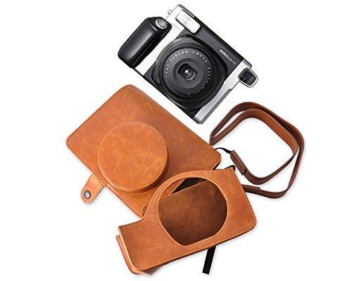 DSstyles Custodia per fotocamera per Fujifilm Instax Wide 300 macchina fotografica istantanea retrò PU Custodia in pelle con cinturino gratis - Brown