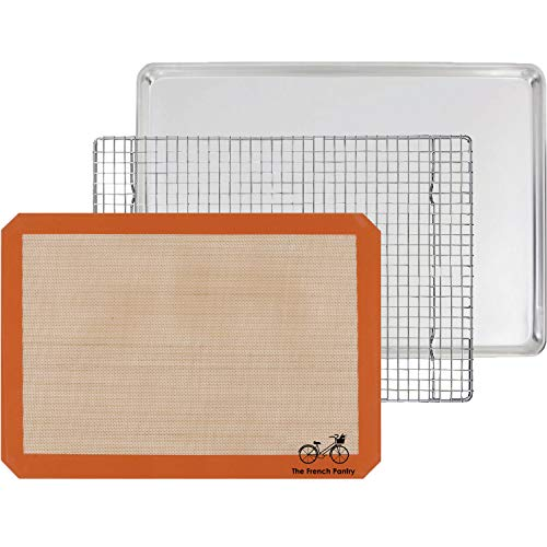The French Pantry 3 Piece Baking Gift Set - Aluminum Sheet Pan, Silicone Baking Mat & Stainless Steel Cooling Rack