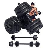 Wemk Haltères réglables, Kit haltères Musculation de 20 kg avec Barre d'Extension supplémentaire et poignée antidérapante, Parfait pour Entraînement Musculaire et Haltérophilie