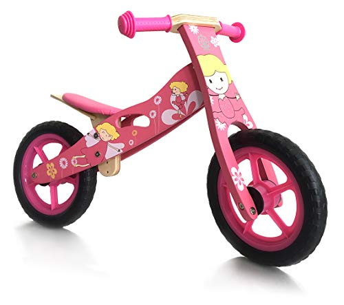 london-kate Deluxe Wooden Balance Running Bike - No Pedal Push Bike - Girls Training Bike for Toddlers and Kids
