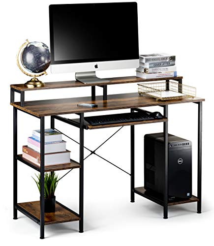 Computer Desk with Storage Shelves and Keyboard Tray, Hutch Shelf...