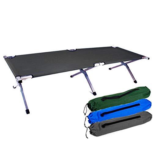 Brandina militare pieghevole in alluminio, ideale per campeggio e come letto per gli ospiti, nero,...