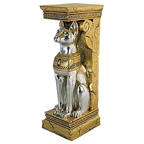 Design Toscano Ägyptische Katzengöttin Bastet, Sockelstatue
