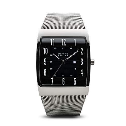 BERING Herren Analog Solar Uhr mit Edelstahl Armband 16433-002