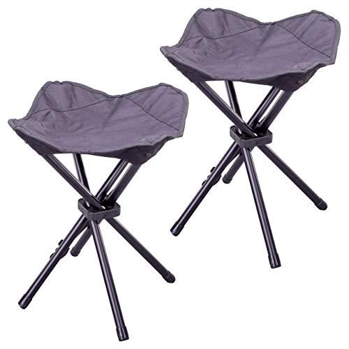 Nexos 2er Set Camping-Hocker schwarz 4-beinig Mini Campingstuhl für Angeln Reise Wandern Garten – Outdoor faltbar – Bespannung schwarz – Gestell grau