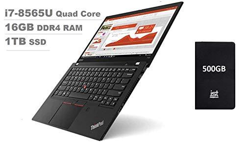 "Lenovo Thinkpad T490 14"" Full HD FHD (1920x1080) Business Laptop (Intel Quad-Core i7-8565U, 16GB DDR4 RAM, 1TB PCIe SSD) Backlit, UHD 620 Thunderbolt 3, Fingerprint,Type-C, Windows 10 Pro+ IST 500GB"