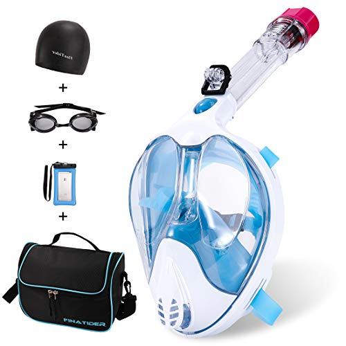 Full Face Snorkel Mask,Advanced Safety Breathing System Allows You to Breathe More Fresh Air While Snorkeling,180 Panoramic Anti Fog Anti Leak Foldable Snorkel Mask for Adult and Kids(Sky Blue-L)