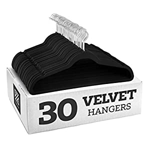 30 attractive black velvet non-slip hangers featuring 360-degree swivel, shiny chrome hooks, and notched shoulders that will make hanging clothes a simple pleasure! The soft texture of the velvet clothes hangers grips delicate items such as camisoles...
