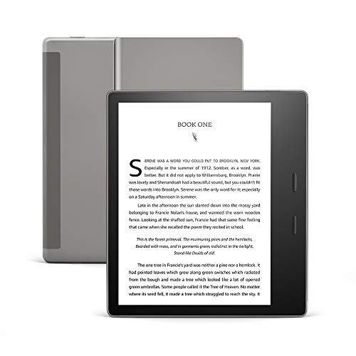 Kindle Oasis – Now with adjustable warm light – Wi-Fi + Free Cellular Connectivity, 32 GB, Graphite