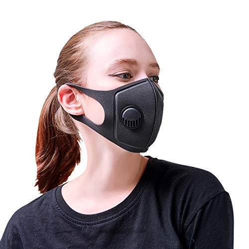 Mascherina Viso Antismog Sportiva Respira Meglio 3ªgen. N99 | Filtro Carboni Attivi PM 2.5-10, Polvere e Polline | Allergie Bicicletta Moto Scooter Corsa Palestra Allenamento Sci Fitness Gomma Città