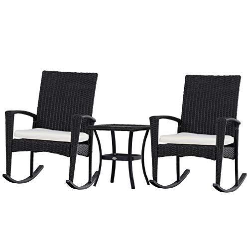 Outsunny Schaukelstuhl Set, Gartenmöbel Set, Dreiteilige Sitzgruppe, Sitzgarnitur, 2 Stühle, 1 Tisch, Grau 66 x 88 x 98 cm (Stuhl), 50 x 50 x 51 cm (Tisch)
