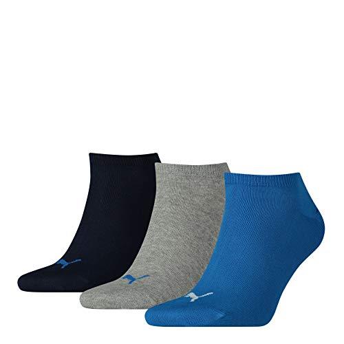 PUMA Sneaker Plain 3p Calze Sportive, Blu/Grigio Melange, 35/38 (Pacco da 3) Unisex  Adulto