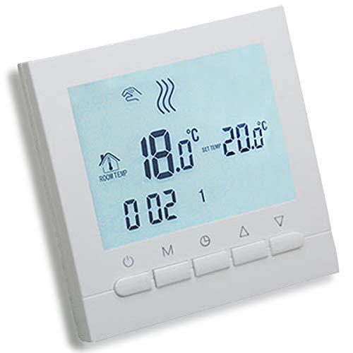 AVStarThermostat programmable  intelligent pour chauffage de chaudières à gaz–écran LCD pour facilité de contrôle et programmation - boîtier et éclairage blanc élégant–Fonctionne avec piles