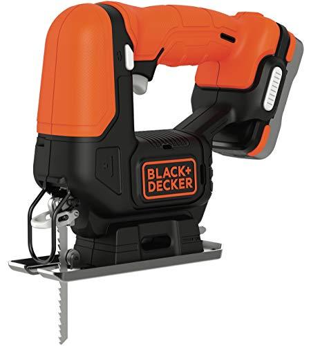 BLACK+DECKER BDCJS12S1-QW Scie sauteuse sans fil - Profondeur : 16 mm - Bois : 52mm - Métal : 5mm - Aluminium : 17mm - 1 lame pour le bois - Livrée en sac de rangement, 12V, 1 batterie