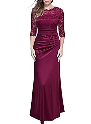 SIZE RECOMMEND: US 4/6(Small), US 8/10(Medium), US 12/14(Large), US 16(X-Large), US 18(XX-Large), US 20(3X-Large) Scoop Neck, Floral Lace Contrast, 2/3 Sleeve. Ruched On The Waist, Elegant Slim Long Dress,Sexy See Though Design,V Neck On The Back. Pl...
