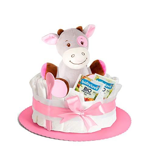 Windeltorte in Rosa mit Pony-Spieluhr von Homery, perfekt als Geschenk für Mädchen zur Baby-Party oder Geburt – Handmade fair hergestellt
