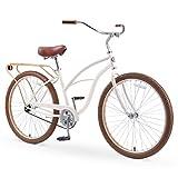 sixthreezero Around The Block Women's 26' Single Speed New Beach Cruiser Bicycle with Rear Rack, Cream Coffee