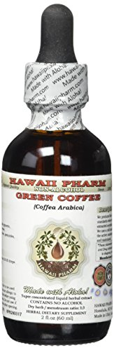 Green Coffee Alcohol-FREE Liquid Extract, Green Coffee (Coffea Arabica) Dried Bean Glycerite Hawaii Pharm Natural Herbal Supplement 2 oz