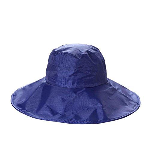 Chic Queen Outdoor UV Protection Rain Cap Waterproof Rain Hat Wide Brim Bucket Hat (Blue)