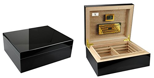 GERMANUS « Prandium » Humidor con higrómetro digital y GERMANUS Crystal humidificador para ca. 100 cigarros